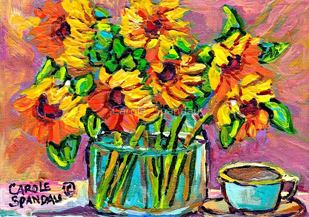 FLORAL STILL LIFE SUNFLOWERS WITH CUP COLORFUL ORIGINAL PAINTING by Carole  Spandau