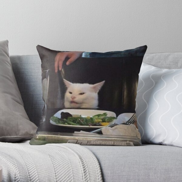 Salad Cat Meme Throw Pillow