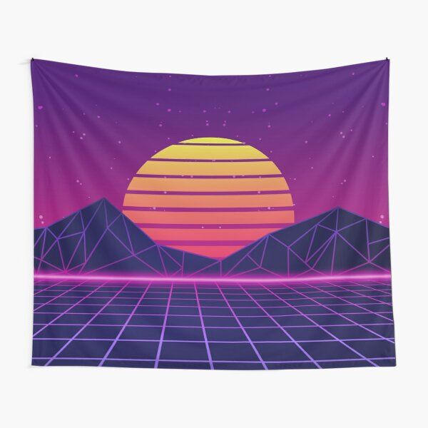 Synthwave Sunset Aesthetic Tapestry