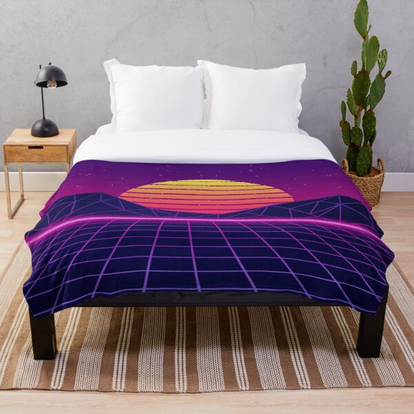 Synthwave Sunset Aesthetic Throw Blanket
