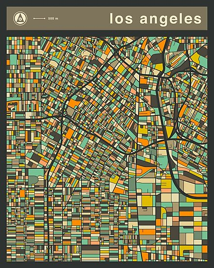 LOS ANGELES MAP (vertical) by JazzberryBlue