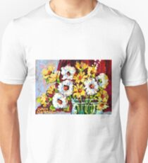 BEAUTIFUL FORAL ARRANGEMENT WITE AND YELLOW DAISIES ORIGINAL PAINTNG T-Shirt