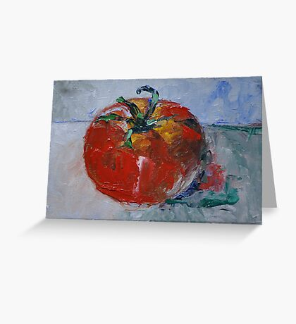 """Ripen Tomato"" - 4"" x 6"" original oil painting by Magaly Burton Greeting Card"