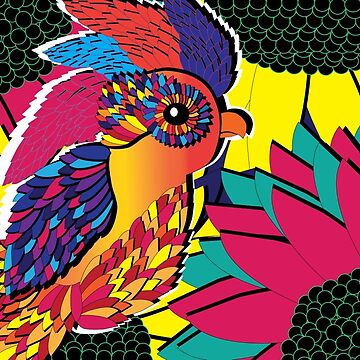 Feathered Flowers Colorful print by Scenccentric