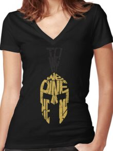 Tonight we dine in HELL!! Women's Fitted V-Neck T-Shirt