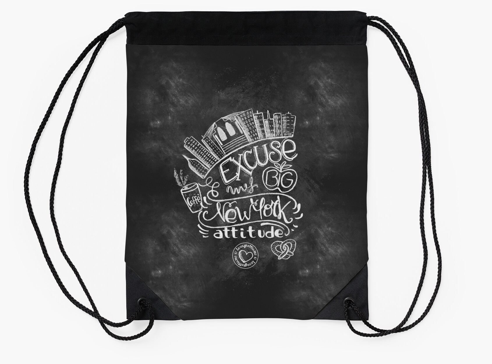 Art Bag Nyc New York Attitude Handmade Chalk Art Design Drawstring Bags By