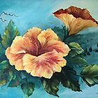 Peach Hibiscus in Acylic by teresa731