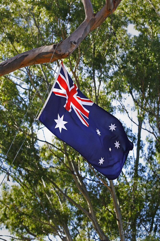 Australian flag flying at the Henry Lawson Obelisk by Darren Stones