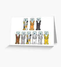 Bon Voyage, fun cats . Greeting Card