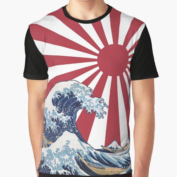 Great Wave off Kanagawa Rising Sun Graphic T-Shirt