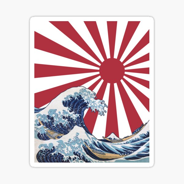 Great Wave off Kanagawa Rising Sun Sticker