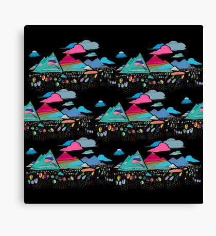 candy mountains over lollypops landscape Canvas Print