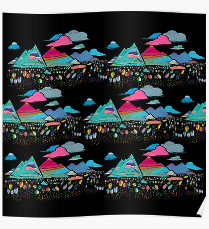 candy mountains over lollypops landscape Poster