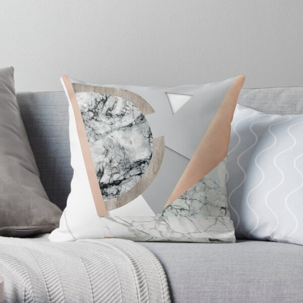 Collage I ( marble and copper ) Throw Pillow