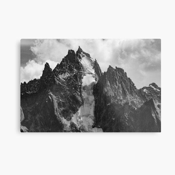 Black and White Snow Mountain Photograph Metal Print