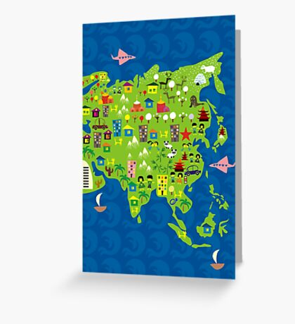 Cartoon Map of Asia Greeting Card
