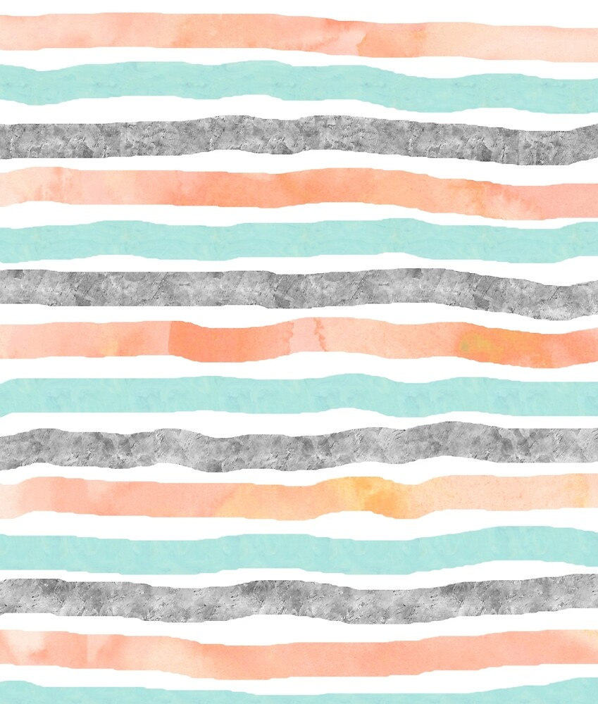 watercolor hand drawn stripes coral blue grey by dreamingmind