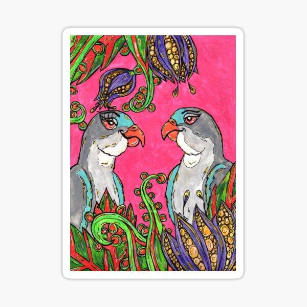 Hazza and Megsie the Princess Parrots Sticker