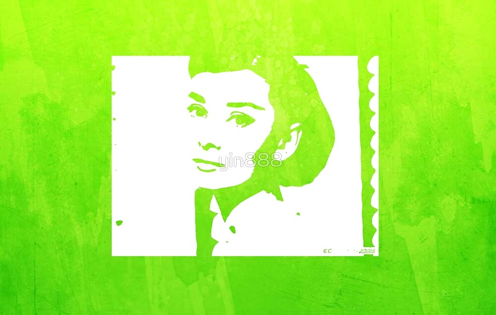 Audrey Hepburn Profile Green  by yin888