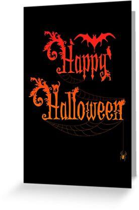 Happy Halloween Rococo Typography Greeting Card ~ Orange Version by Sam Stormborn Ormandy
