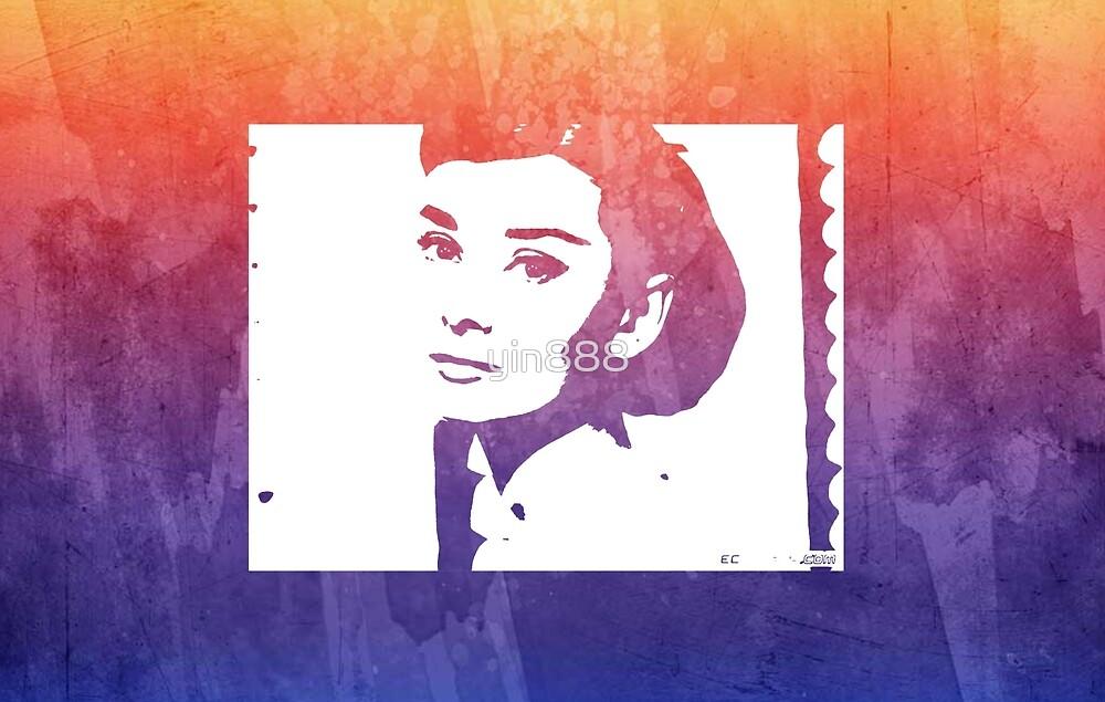 Audrey Hepburn Profile Purple  by yin888