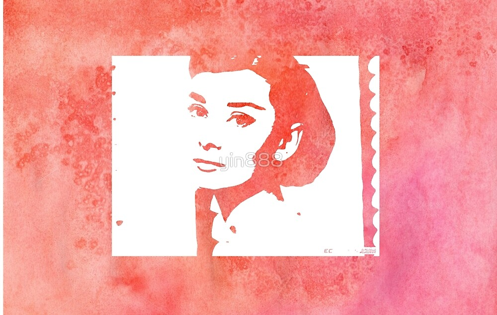 Audrey Hepburn Profile Red by yin888