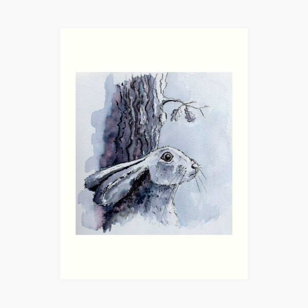 Hare stared out into the darkness - monochrome Art Print