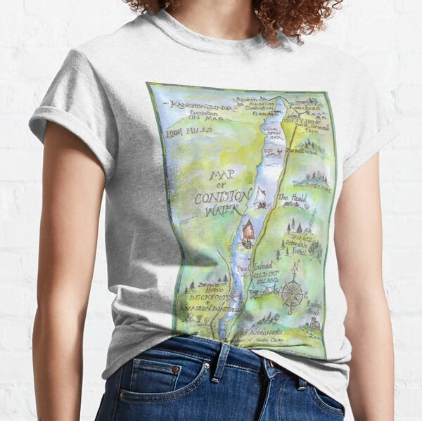 Swallows and Amazons map of Coniston Water -  Classic T-Shirt