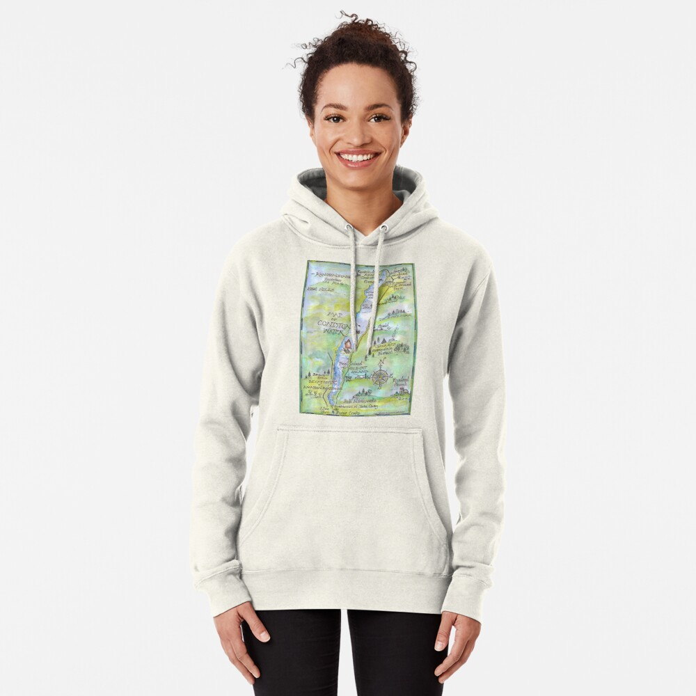 Swallows and Amazons map of Coniston Water -  Pullover Hoodie
