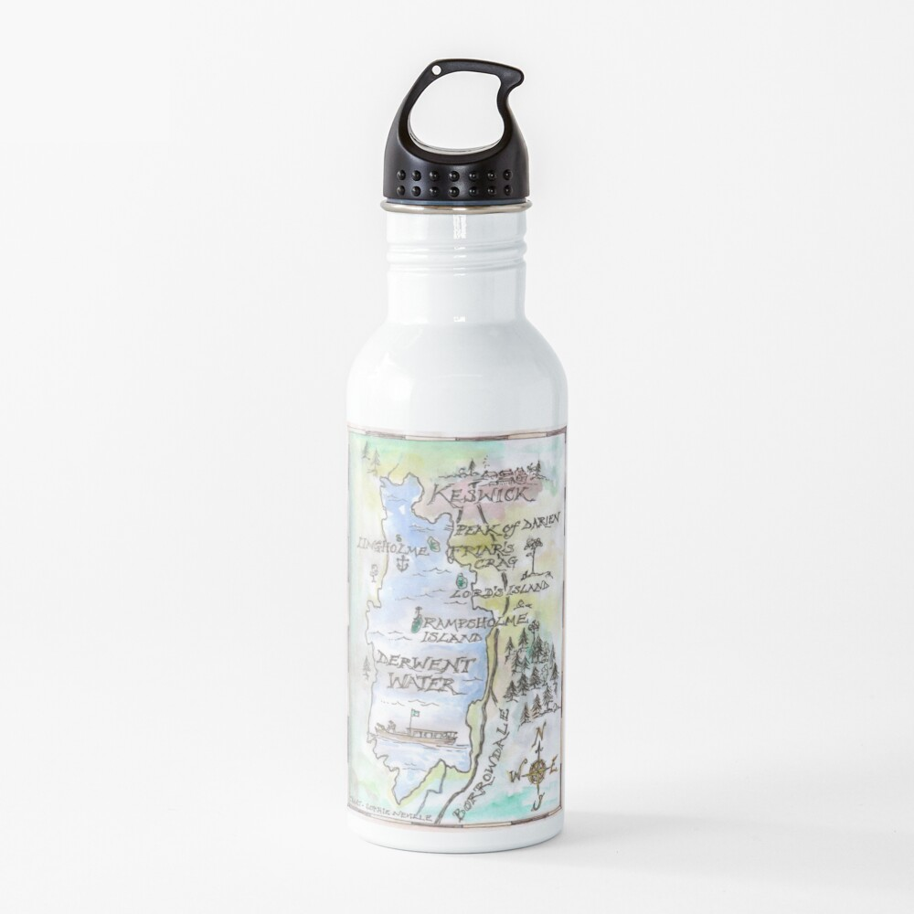Swallows and Amazons map of Derwentwater by Sophie Neville -  Water Bottle