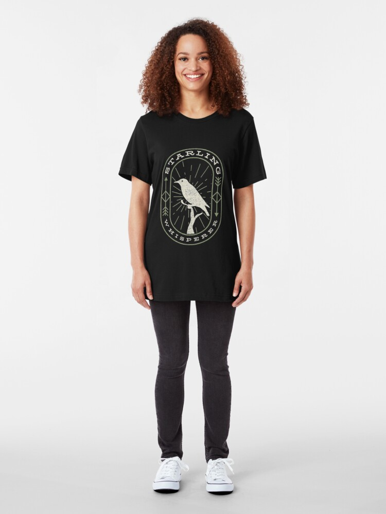 Alternate view of Starling Whisperer - Bird Watching Slim Fit T-Shirt