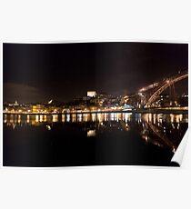 Night at Oporto's Douro Riverside, Portugal Poster