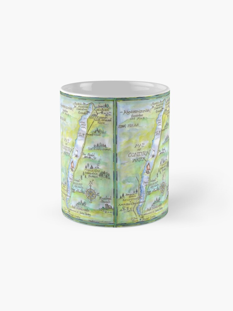 Alternate view of Swallows and Amazons map of Coniston Water -  Mug