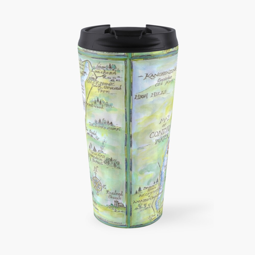 Swallows and Amazons map of Coniston Water -  Travel Mug