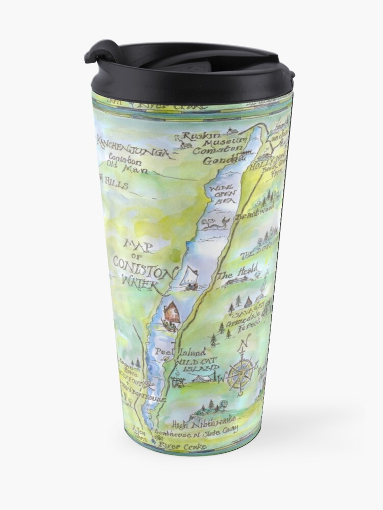 Alternate view of Swallows and Amazons map of Coniston Water -  Travel Mug