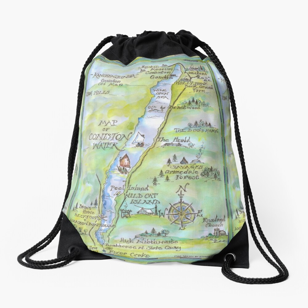 Swallows and Amazons map of Coniston Water -  Drawstring Bag