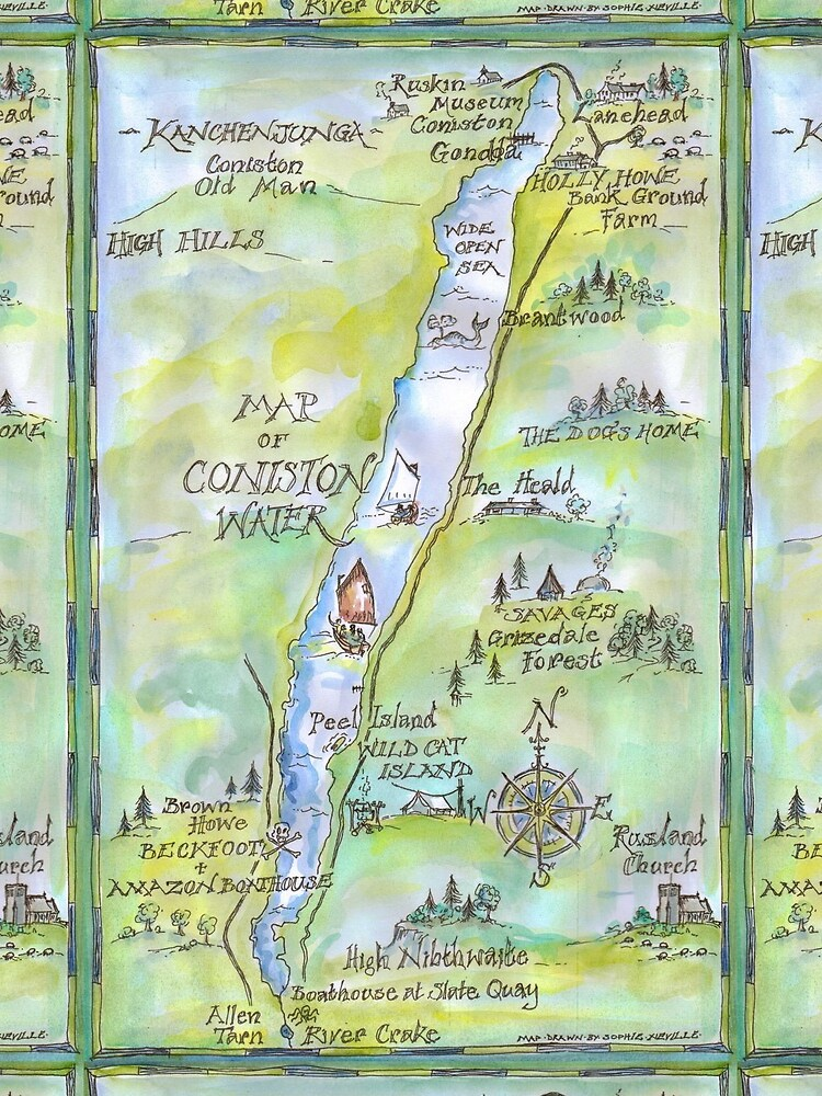 Swallows and Amazons map of Coniston Water -  by SophieNeville