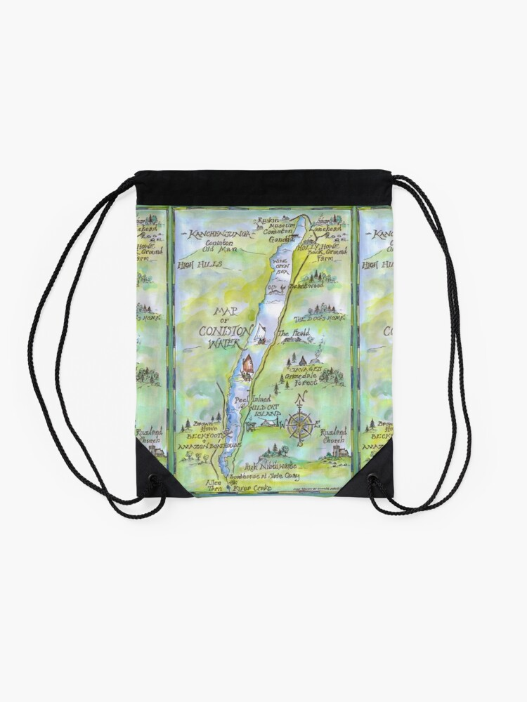 Alternate view of Swallows and Amazons map of Coniston Water -  Drawstring Bag