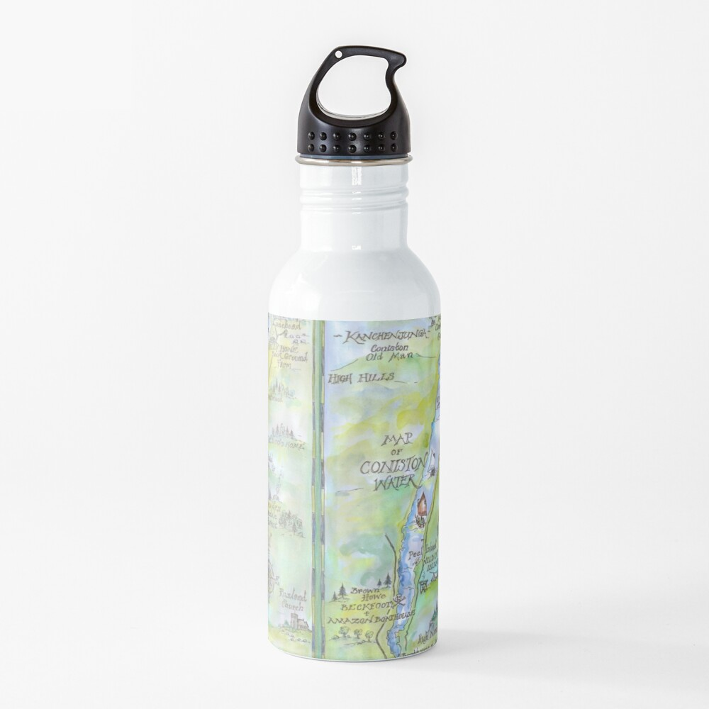Swallows and Amazons map of Coniston Water -  Water Bottle