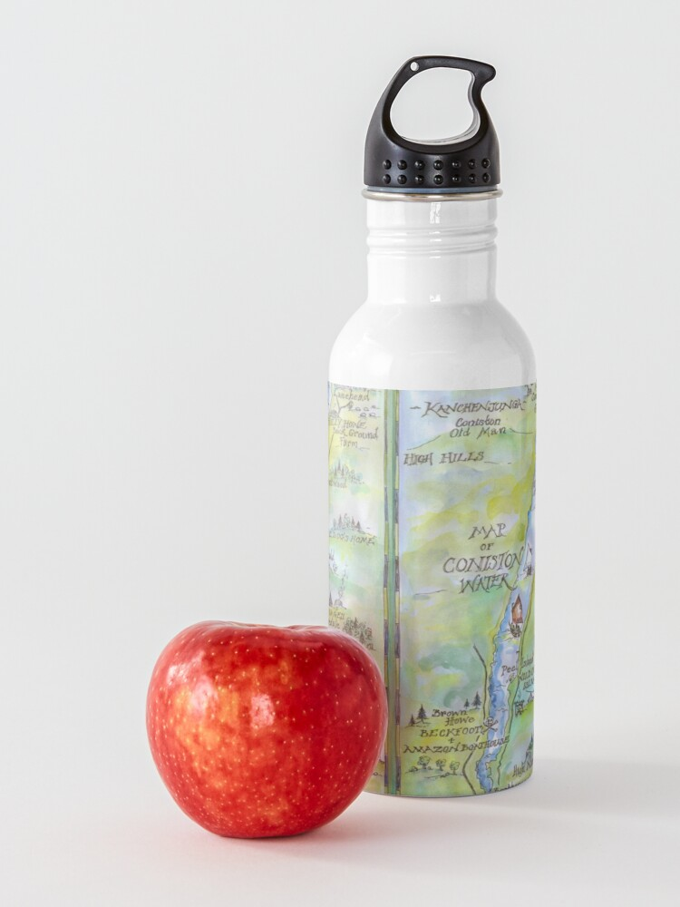 Alternate view of Swallows and Amazons map of Coniston Water -  Water Bottle