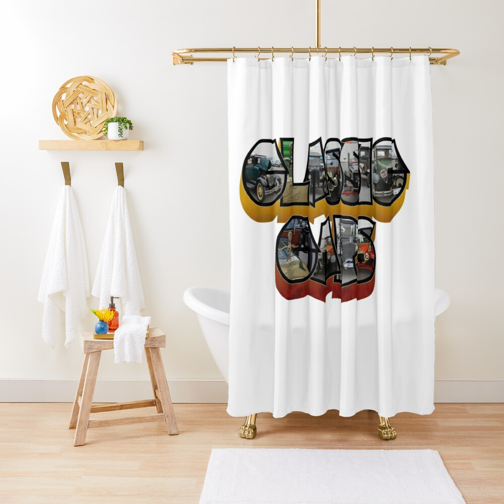 Classic Car Big Letter Shower Curtain