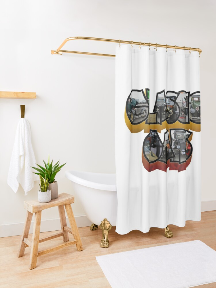 Alternate view of Classic Car Big Letter Shower Curtain