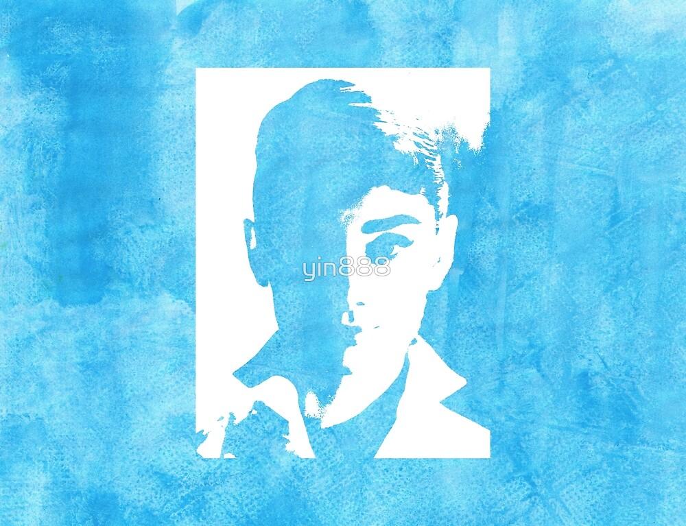 Audrey Hepburn In White Shirt Blue  by yin888