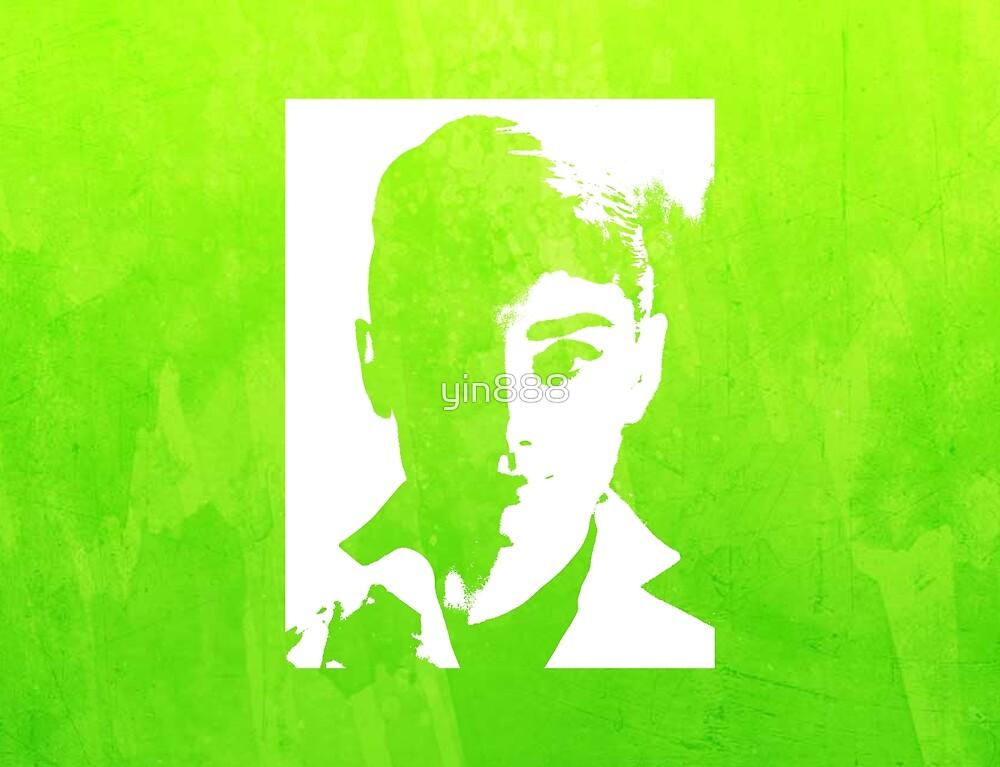 Audrey Hepburn In White Shirt Green  by yin888