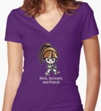 Martial Arts/Karate Girl - Front punch (gray font) Women's Fitted V-Neck T-Shirt