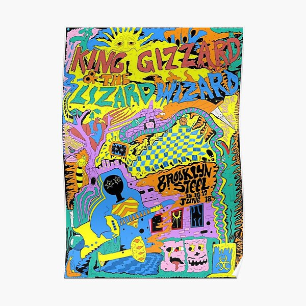 King Gizzard and the Lizard Wizard Arte de acero de Brooklyn Póster