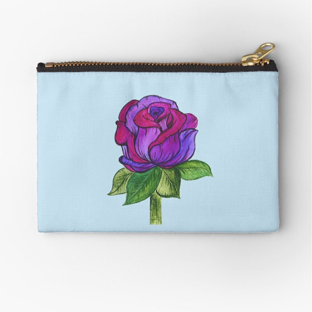 Purple and Pink Rose Zipper Pouch
