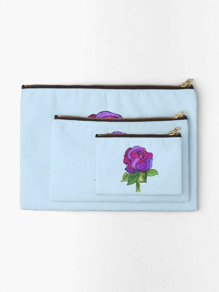 Alternate view of Purple and Pink Rose Zipper Pouch