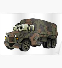 Military Transport Truck Cartoon Poster