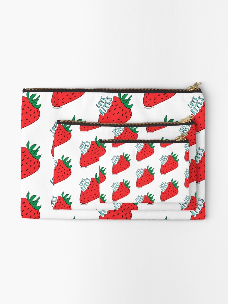 Alternate view of White 'Love Bites' Cute Strawberry - Valentines Day Gift by Kay Ali Zipper Pouch